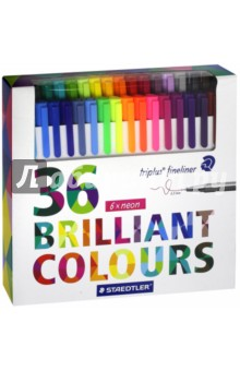 Набор капиллярных ручек Triplus 334 (36 цветов) (334C36)Наборы капиллярных ручек<br>Капиллярные ручки.<br>Количество цветов: 36.<br>Линия письма: 0,3 мм.<br>Трехгранная форма. <br>Яркие цвета.<br>Сделано в Германии.<br>