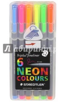 Набор капиллярных ручек Triplus 334 (6 неоновых цветов)Наборы капиллярных ручек<br>Капиллярные ручки.<br>Количество цветов: 6.<br>Линия письма: 0,3 мм.<br>Трехгранная форма. <br>Яркие цвета.<br>Сделано в Германии.<br>