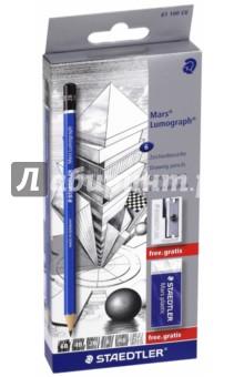 """Набор карандашей чернографитных """"Lumograph 100"""" (6B,4B,2B,B,HB,2H) STAEDTLER"""