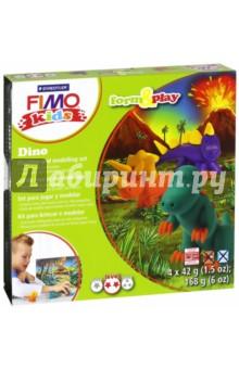 FIMO kids create &amp; play ДиноЛепим из пасты<br>Набор для создания украшений.<br>4 цвета по 42 грамма + аксессуары.<br>Уровень сложности: 2.<br>Сделано в Германии.<br>