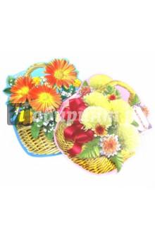Комплект украшений из картона на скотче - мини-корзинки с цветами (КМ-10179)