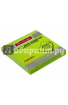 Бумага для заметок с клеевым краем, 100 листов, 76x76 мм NEON, зеленая (HN7676GN) Хатбер