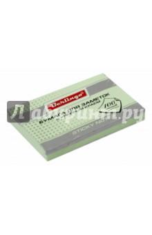 Бумага для заметок с клеевым краем, 100 листов, 76x51 мм ПАСТ, зеленая (HN7651G) Хатбер