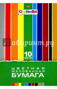 """Бумага цветная мелованная, 10 листов, 10 цветов """"CreativeSet"""" (10Бц4м_05930) Хатбер"""