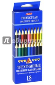 Карандаши цветные трехгранные (18 цветов) (BKt_18400)Цветные карандаши 18 цветов (15—20)<br>Карандаши цветные.<br>В наборе 18 цветов.<br>Яркие цвета.<br>Мягкое письмо.<br>Легко затачиваются.<br>Удобная трехгранная форма.<br>Не токсичны.<br>Состав: дерево, графит.<br>Не рекомендуется детям до 3-х лет.<br>Сделано в Китае.<br>