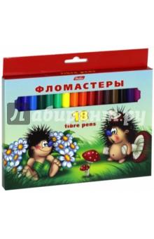 Фломастеры Ёжики (18 цветов) (BFk_18300)Фломастеры 18 цветов (15—20)<br>Фломастеры.<br>В наборе 18 цветов.<br>Предназначены для рисования на бумаге.<br>Легко смываемые чернила.<br>Вентилируемый колпачок. <br>Не токсичны.<br>Не рекомендуется детям до 3-х лет.<br>Сделано в Китае.<br>