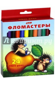 Фломастеры Ёжики (24 цвета) (BFk_24300)Фломастеры 24 цвета (21—30)<br>Фломастеры.<br>В наборе 24 цвета.<br>Предназначены для рисования на бумаге.<br>Легко смываемые чернила.<br>Вентилируемый колпачок. <br>Не токсичны.<br>Не рекомендуется детям до 3-х лет.<br>Сделано в Китае.<br>