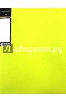 Папка на 4 кольцах, пластиковая NEON 4-RING BINDER, желтая (4AB4_02036) Хатбер