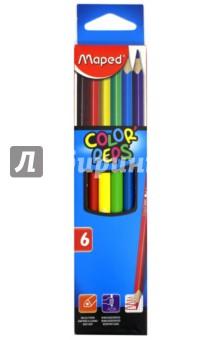 Карандаши цветные COLORPEPS, трехгранный корпус, 6 цветов (832002)Цветные карандаши 6 цветов (4—8)<br>Карандаши цветные COLOR PEPS, трехгранные, 6 цветов.<br>Ударопрочный корпус из дерева, прочный грифель. <br>Упаковка: коробка с подвесом.<br>