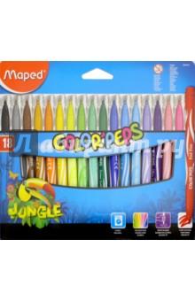 Фломастеры COLORPEPS Jungle, 18 цветов, смываемые (845421)Фломастеры 18 цветов (15—20)<br>Фломастеры смываемые с заблокированным пишущим узлом.<br>18 цветов.<br>Линии средней толщины.<br>Материал: пластмасса.<br>Упаковка: картонный блистер.<br>Сделано в Китае.<br>