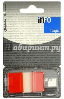 Клейкие Z закладки, пластик, 25х43 мм, 50 листов, красный край (7728-74) Info Notes