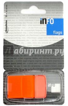 Клейкие Z закладки, пластик, 25х43 мм, 50 листов, неон оранжевый (7728-12) Info Notes