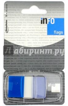 Клейкие Z закладки, пластик, 25х43 мм, 50 листов, синий край (7728-81) Info Notes
