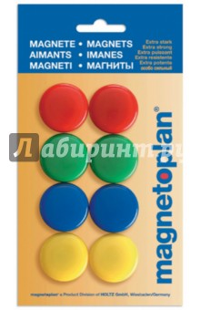 Магниты сигнальные в блистере. 8 штук. d=30 мм. (16663) Magnetoplan