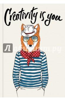 Creativity is you (Блокнот для хипстеров)Блокноты большие Линейка<br>Яркие хипстерские блокноты: на обложках модные образы животных в стильной одежде.<br>