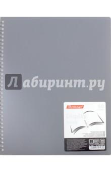 Папка пластиковая с вкладышами (60 вкладышей, А4, гребень, серая) (AVg_60008)