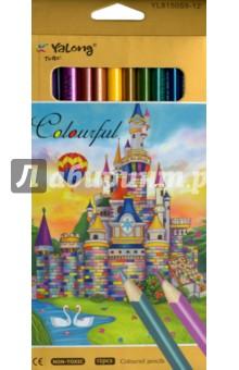 Карандаши металлик (12 цветов, трехгранные) (S 815059-12)Цветные карандаши 12 цветов (9—14)<br>Карандаши цветные металлик. <br>Трехгранные. <br>Количество цветов: 12.<br>Удобно точить<br>Прочный грифель<br>Сделано в Китае.<br>