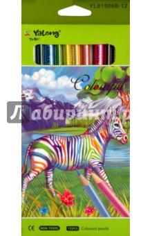 Карандаши перламутровые (12 цветов) (YL 815068-12)Цветные карандаши 12 цветов (9—14)<br>Карандаши цветные перламутровые.<br>Трехгранные. <br>Количество цветов: 12.<br>Удобно точить<br>Прочный грифель<br>Сделано в Китае.<br>