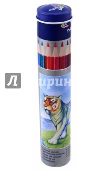 Карандаши Животные (12 цветов, металлическая туба) (YL 830043)Цветные карандаши 12 цветов (9—14)<br>Карандаши цветные.<br>Трехгранные. <br>Количество цветов: 12.<br>Упакованы в металлический тубус. <br>Удобно точить<br>Прочный грифель<br>Сделано в Китае.<br>