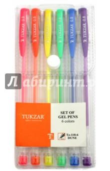 Набор ручек гелевых DUNE неон, 6 цветов (TZ 118-6) TUKZAR
