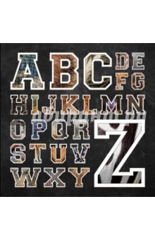 Красочный цветной двусторонний плакат. На одной стороне плаката изображены животные - по одному на каждую букву английского алфавита. На другой стороне английские буквы залиты внутри фоном, повторяющим фактуру шерсти животного, изображенного на оборотной стороне.