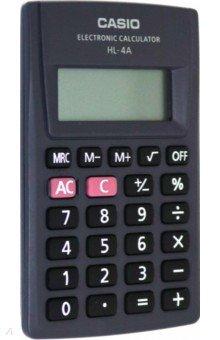 Калькулятор карманный Casio черный, 8-разрядный (HL-4A)Калькуляторы<br>Калькулятор карманный.<br>Разрядность дисплея:  8-разрядный<br>Специальные функции: память, расчет процентов, вычисление квадратного корня.<br>Материал: пластмасса с элементами из металла.<br>Упаковка: блистер.<br>Сделано в Китае.<br>
