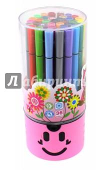 Фломастеры Junior, 36 цветов. В пластиковом тубусе-подставке (М-5056-36) MAZARI