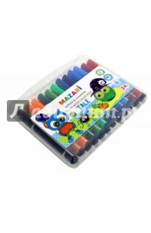Фломастеры JUMBO, 24 цвета. Утолщенный трехгранный корпус. В пластиковом чемоданчике (М-5058-24)Фломастеры 24 цвета (21—30)<br>Фломастеры JUMBO, 24 цвета.<br>Вентилируемый колпачок, утолщенный трехгранный корпус.<br>В пластиковой коробке - чемоданчике.<br>