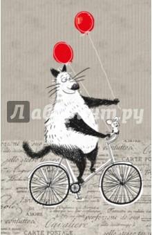 Блокнот, поднимающий настроение На велосипедеБлокноты большие Линейка<br>Блокнот для записей - вещь очень личная, ведь именно ему вы доверяете свои мысли и делитесь планами. Страницы блокнота поведают вам о дружбе большого кота и маленького мышонка. Звучит невероятно? Однако им это удаётся. Находчивый мышонок и большой добрый кот изображены в повседневных сюжетах, и наверняка, каждый узнает себя или своего знакомого в этих образах. Плотная бумага, позитивные картинки - открывать блокнот и писать в нем - сплошное удовольствие. С первых дней использования блокнот станет помощником на пути к реализации вашей мечты. А ещё к нему прилагается отличное настроение!<br>