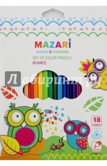 Карандаши 18 цветов NUANCE, пластиковые, трехгранные (М-6097-18)Цветные карандаши 18 цветов (15—20)<br>Карандаши цветные.<br>18 цветов.<br>Пластиковый трехгранный корпус. <br>Диаметр грифеля: 3 мм.<br>Упаковка: картонная коробка с европодвесом.<br>Сделано в Китае.<br>