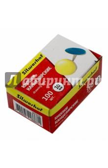 Кнопки канцелярские Silwerhof, стальные с цветной эмалью. 100 штук, диаметр 10 мм. (501010)
