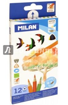 Карандаши цветные акварельные с кистью, 12 цветов (MI-0742312)Цветные карандаши 12 цветов (9—14)<br>Карандаши цветные акварельные с кистью.<br>12 цветов.<br>Трехгранные.<br>Мягкий и прочный грифель.<br>Упаковка: картонная коробка с подвесом.<br>Сделано в Испании.<br>