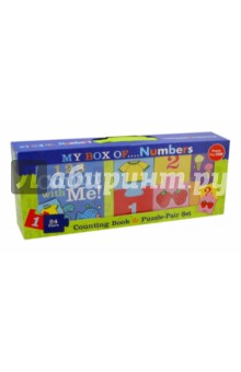 My Box of.. .Numbers: From 1 to 100! Counting Book and Puzzle-Pair SetАнглийский для детей<br>From 1 shirt to 100 ants, this book offers a fun way to count up everyday objects-and then match the numbers to the pictures with the interlocking two-piece puzzle cards. Charmingly illustrated in simple cartoon drawings with bold outlines and colors, this board book and card set presents numbers and vocabulary for prereaders. Youngsters can pair the interlocking top and bottom halves of 24 laminated cards-imprinted with numbers, words, and pictures from the book-or turn the cards over and try memory-matching activities.<br>