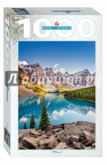 Step Puzzle-1000  Озеро в горах (79120)Пазлы (1000 элементов)<br>Пазл Озеро в горах - коллекционный подарочный пазл из серии Travel Collection.<br>Собрав этот пазл, вы получите невероятно красочный вид на ледниковое озеро Морейн.<br>Подобно драгоценному сапфиру, прекрасное озеро Морейн скрыто в скалах, что непреступно стоят в лесах Канады.<br>Словно громадные великаны, эти естественные стражи охраняют свое главное сокровище - озеро, воды которого настолько наполнены всеми оттенками голубого, что кажется, будто само небо нашло приют среди величественных гор.<br>Размер собранного изображения: 68х48 см.<br>Количество деталей: 1000.<br>Содержит мелкие детали.<br>Не рекомендовано детям младше 3-х лет. Содержит мелкие детали.<br>Для детей старше 3-х лет. <br>Производитель: Россия.<br>