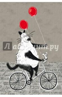 Блокнот, поднимающий настроение. На велосипеде. А6+Блокноты средние нелинованные<br>Блокнот для записей - вещь очень личная, ведь именно ему вы доверяете свои мысли и делитесь планами. Страницы блокнота поведают вам о дружбе большого кота и маленького мышонка. Звучит невероятно? Однако им это удаётся. Плотная бумага, позитивные картинки - открывать блокнот и писать в нем - сплошное удовольствие. С первых дней использования блокнот станет помощником на пути к реализации вашей мечты. А еще к нему прилагается отличное настроение!<br>