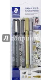 Набор капиллярных ручек Pigment liner, 3 шт, черный + 2 маркера золото/серебро  (308SBK3P3)Наборы капиллярных ручек<br>Набор.<br>В наборе 3 капиллярные ручки (толщина стержня 0.1, 0.3 и 0.3-2.0 мм; цвет чернил черный), 2 маркера (цвет золото и серебро)<br>Упаковка: блистер.<br>Сделано в Германии.<br>