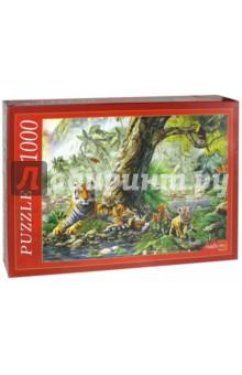 Puzzle-1000. Тигры под деревом (МГ1000-7400)Пазлы (1000 элементов)<br>Пазлы - популярная занимательная игра, которая развивает мелкую моторику рук, память, внимание посредством собирания яркой и красочной картинки, состоящей из мелких деталей. <br>Серия 1000 элементов - это огромное разнообразие дизайнов - города и страны, животные и птицы, искусство и живопись и многое-многое другое. <br>Количество элементов: 1000.<br>Размеры собранной картинки: 68,5x48,5 см.<br>Материал: картон.<br>Упаковка: картонная коробка.<br>Сделано в России.<br>