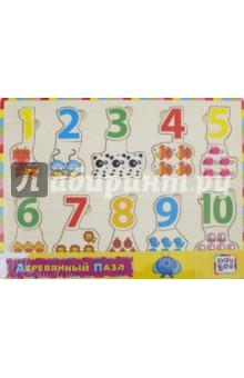Деревянный пазл Логика и счет (62722)Обучающие игры-пазлы<br>Деревянный пазл.<br>В комплекте деревянная доска, 20 съемных элементов.<br>Материал: дерево.<br>Для детей от 3 лет.<br>Сделано в Китае.<br>