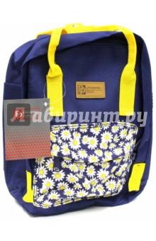 Рюкзак молодежный Ромашки на синем (44273)Рюкзаки школьные<br>Рюкзак молодежный имеет:<br>- 1 большое отделение на молнии с внутренним карманом.<br>- 1 накладной карман спереди на молнии. <br>- Ручки для переноски рюкзака в руках.<br>Длина лямок регулируется.<br>Материал: полиэстер<br>Размер: 28х22х9 см.<br>Производство: Китай.<br>