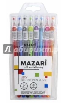 Набор ручек гелевых Lexy (8 цветов) (М-5507- 8)Наборы гелевых ручек<br>Набор ручек гелевых.<br>В наборе 8 цветов.<br>Характеристики: <br>- игольчатый пишущий узел 0.5 мм;<br>- наконечник в форме кристалла;<br>- цветной пластиковый корпус.<br>Состав: металл, пластик, чернила.<br>ПВХ-упаковка с европодвесом.<br>Сделано в Китае.<br>