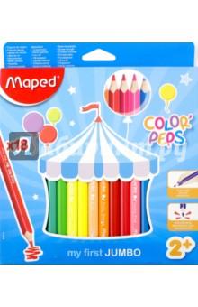 Набор карандашей Color Peps Jumbo, 18 цветов (834012)Цветные карандаши 12 цветов (9—14)<br>Набор цветных карандашей.<br>18 цветов.<br>Треугольные.<br>Материал: американская липа.<br>Упаковка: картонная коробка с подвесом.<br>Сделано в Китае.<br>