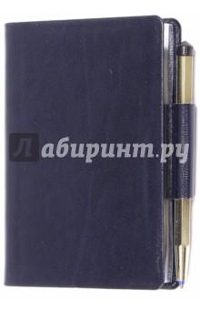 Записная книжка с ручкой Ля Фонтейн (синий)Записные книжки малые (менее формата А6)<br>Записная книжка с ручкой.<br>Минимум места - максимум пользы<br>Количество страниц: 256<br>Чистые отрывные листы с перфорацией<br>Высококачественная каландрированная белая бумага Premium, 70 г/м2<br>Золочение или серебрение обреза <br>Шариковая ручка в тон обреза<br>Вклеенная закладка<br>Мягкая обложка, возможность нанесения логотипа<br>Упаковка - пластиковый шубер.<br>