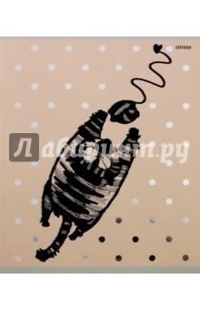 """Тетрадь 48 листов, клетка """"Веселый кот"""", 5 видов (ТКФЛ485397) Эксмо-Канц"""
