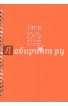 Тетрадь Cats (пластиковая обложка, 96 листов, спираль) (N547/orange)Тетради в клетку 96л. и более, пружина<br>Тетрадь общая.<br>Формат: А5<br>Количество листов: 96<br>Бумага: офсет 100% белизны, 65 г/м2.<br>Тип линовки: клетка<br>С полями.<br>Тип крепления: спираль. <br>Углы тетради скруглены.<br>Сделано в Республике Беларусь.<br>