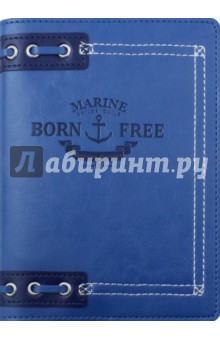 Ежедневник недатированный Born Free (160 листов, 12x17 см) (AZ522emb/blue)Ежедневники недатированные и полудатированные А6<br>Ежедневник недатированный.<br>Обложка - мягкий переплет, искусственная кожа, цвет - синий. <br>Блок - недатированный, 320 страниц, прямые уголки, 1 широкое ляссе, информационный блок, бумага: 100 % белизны, 70 г/м2, печать 2+2. <br>Особенности: тиснение, нашивка, люверсы.<br>Сделано в России.<br>