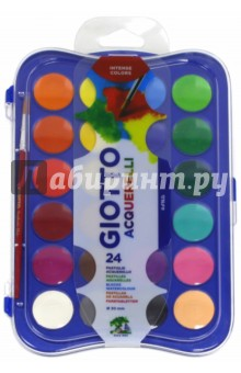Сухая акварель в таблетках Giotto Acquerelli (30 мм, 24 цвета) (352400)Краски акварельные более 20 цветов<br>Набор акварельных красок.<br>Краска в сухих таблетках с высоким содержанием цветного пигмента.<br>Требует минимального количества воды.<br>Диаметр одной таблетки 30 мм.<br>В наборе 24 цвета, кисть  из синтетического волокна.<br>Для детей старше 3-х лет.<br>Упаковка с европодвесом.<br>Произведено в Индии.<br>