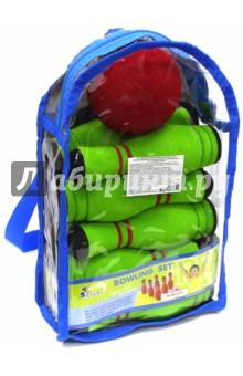 Игра мини-боулинг, 10 кеглей в сумке (MBB-06(B))Игры для активного отдыха<br>Мини-Боулинг в сумке.<br>В наборе 10 кеглей и 1 мяч.<br>Суть игры:<br>Сбить шаром максимальное количество кеглей.<br>Число игроков и количество туров - произвольное.<br>Очки, набранные с каждым броском мяча, равны количеству сбитых кегель.<br>Расстояние, с которого совершается бросок, определяется игроками.<br>Каждый игрок имеет право на два броска в одной рамке (рамка - треугольник, в пределах которого выстраиваются кегли перед каждым первым броском очередного игрока).<br>Если первым броском игрок сбил не все кегли, он бросает второй раз и пытается сбить оставшиеся кегли.<br>Бросок, при котором все кегли сбиты с первого раза, называется страйк и обозначается как Х.<br>В этом случае второй бросок не нужен: рамка считается закрытой.<br>Призовые очки за страйк (Х) - это сумма кеглей, сбитых игроком следующими двумя бросками (в порядке своей очереди).<br>Выигрывает тот игрок, который в сумме набирает большее количество очков.<br>Цвета кеглей и мячей могут отличаться от представленных на картинке.<br>Набор изготовлен из вспененной резины.<br>Для детей от 3-х лет.<br>Сделано в Таиланде.<br>