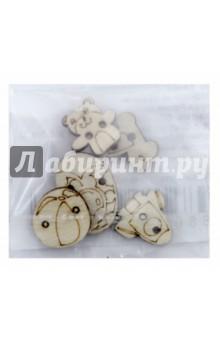 Образцы пуговиц, средний комплект (5 штук) (П-2)Скрапбук<br>Образцы пуговиц.<br>Средний комплект.<br>В наборе 5 фигурных пуговиц.<br>Материал: фанера.<br>Сделано в России.<br>