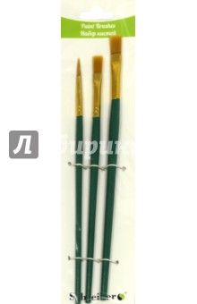 Набор кистей 3шт (синтетика № 2,4,6) плос.(S 1719)Набор кистей<br>Набор кистей нейлоновых плоских/круглых 3 шт. №2,4,6, с деревянной рукотякой зеленого цвета <br>Состав: древесина, металл, нейлон.<br>Производитель: КНР.<br>