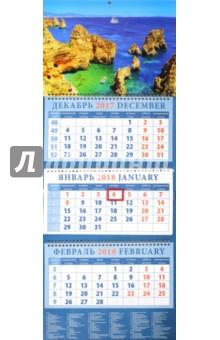 Календарь квартальный на 2018 год Морские просторы (14845)Квартальные календари<br>Календарь на 2018 год, настенный, квартальный с пиколло и курсором для выделения текущей даты.<br>Бумага офсетная<br>Обложка глянцевая.<br>Крепление: спираль.<br>Формат: 320х780 мм.<br>Сделано в России.<br>